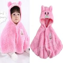 2011新款 粉色兔子女宝宝造型披风 珊瑚绒 公主坎肩上衣披肩 价格:46.75