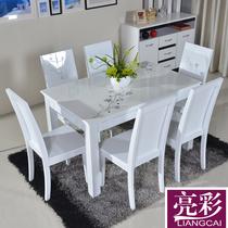 亮彩 2013新品促销现代简约餐桌 实木大理石时尚餐桌椅组合家具 价格:1080.00