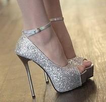 皇冠特价 欧美夜店性感14cm超高跟单鞋 高档闪粉鱼嘴宴会婚礼女鞋 价格:72.00