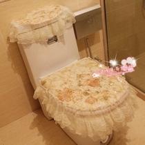 韩版 高档布艺蕾丝马桶套三件套 椭圆方形马桶垫 坐便套 金色系列 价格:38.00
