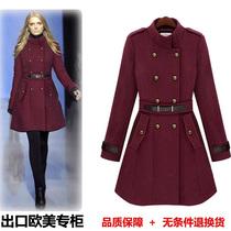 秋冬新款毛呢外套欧美大牌修身呢大衣中长款双排扣羊绒呢子外套女 价格:198.00