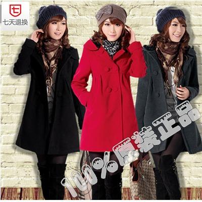 2013新款羊毛呢大衣冬装外套韩版双排扣呢大衣女式呢外套 特价中 价格:148.10
