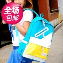 包邮韩版新款休闲帆布配皮大中学生学院风背包双肩包书包帆布包 价格:29.90