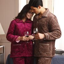 珊瑚绒夹棉睡衣秋冬季棉袄男女加厚情侣套装特价清仓包邮居家服 价格:151.20
