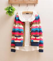 5-365*2013秋新款日系森林系~立体球球撞色彩色条纹毛衣开衫 价格:88.00
