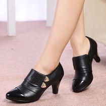 红蜻蜓真皮休闲女单鞋新款欧美金属职业舒适防滑深口高跟鞋女鞋 价格:125.00