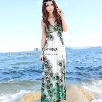 外贸原单新款波西米亚v领沙滩裙连衣裙无袖长裙气质修身欧美裙子 价格:65.00