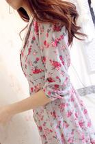 【安璃小镇】朵朵玫瑰 灰色碎花雪纺蕾丝钩花娃娃领连衣裙质量赞 价格:77.00