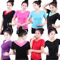 芳之舞 广场舞服装 新款 上衣 舞蹈服装 V领短袖练功服健身瑜伽服 价格:23.00