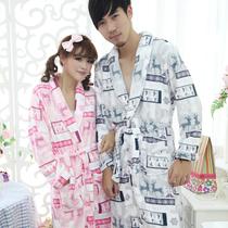10月新品 珊瑚绒情侣 格子小鹿卡通睡衣睡袍浴袍家居服睡衣 价格:59.72
