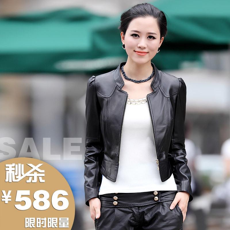 2013新款特价海宁绵羊皮真皮皮衣 女 短款立领拉链简约修身小外套 价格:586.60