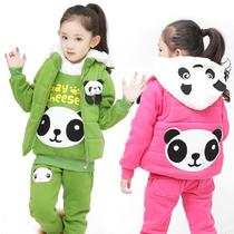 童装女童秋冬装4-5-6-7-8-9岁儿童运动女孩套装大卫衣加厚三件套 价格:138.00