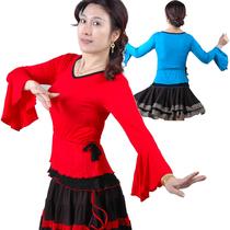 爱动娜菲莫代尔广场舞服装新款长袖上衣舞蹈服喇叭袖中老年舞衣 价格:32.00