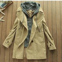 2013秋装外贸原单女装剪标外套可脱卸连帽外套中性帅气假两件风衣 价格:268.00