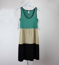 2012夏季女装新款欧美大牌kensie正品三色拼接无袖连衣裙修身裙子 价格:52.00