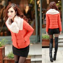 2013冬装新款韩版女装糖果色毛领保暖修身加厚棉服女短款棉衣外套 价格:128.00