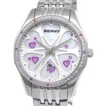 伯尼berny 正品行货 贝壳面不锈钢表带女表 时尚心形镶钻女士手表 价格:616.00