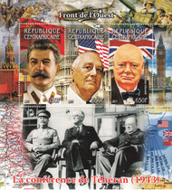 中非邮票 2011年 W036二战德黑兰会议 苏美英三巨头 小全张 价格:35.00