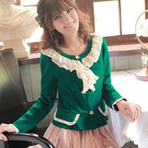 单排扣毛呢大衣新款羊毛短款 毛呢 荷叶领甜美长袖外女式外衣 价格:99.00
