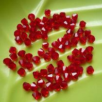 菱形水晶 进口人造水晶  约4MM刻楞多面红水晶  孔正色艳持久 价格:0.25