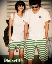 特价2013夏季韩国绿白黑白条纹男女情侣款沙滩短裤棉短裤家居短裤 价格:25.00