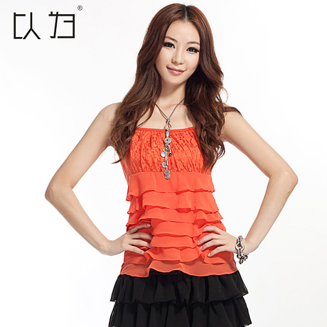 以为 2013新款 女 韩版修身 打底衫 蕾丝雪纺 吊带背心YWsd223 价格:69.50