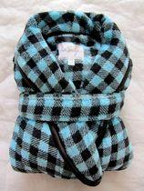 加拿大原单lasenza秋冬珊瑚绒睡袍蓝色格睡衣超柔软睡衣睡袍浴袍 价格:68.00