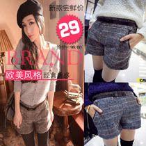 2014年新春款欧美时尚风格女士格子格纹裤子休闲短裤打底靴裤 价格:29.00
