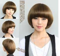 时尚假发 女生BOBO苛苛短直发韩国复古发型蘑菇头沙宣头短假发 价格:68.00