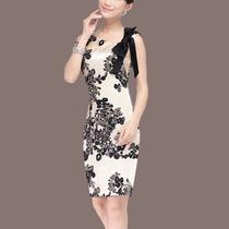 2013新款夏季无袖真丝连衣裙背心裙修身印花 真丝连衣裙大牌包邮 价格:248.00