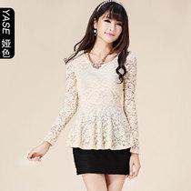 娅色长袖雪纺衫蕾丝衫女韩版潮大码女装蕾丝上衣打底衫长袖女 价格:69.00