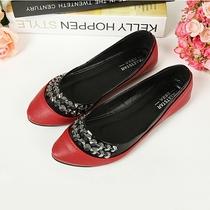 2013秋季女鞋韩版淑女拼色平底鞋女士串珠平跟单鞋OL浅口平底鞋子 价格:39.00