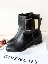 欧美大牌风明星款超酷帅气亮面漆皮金属皮带扣平跟短靴子骑士靴女 价格:168.00