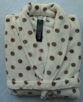 2012冬季超细加厚珊瑚绒睡衣 睡袍浴袍 情侣 米色圆点(法兰绒) 价格:42.90