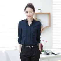 春装女装韩版打底衫大码长袖雪纺衬衣休闲衬衫女优雅百搭时尚衬衫 价格:63.20