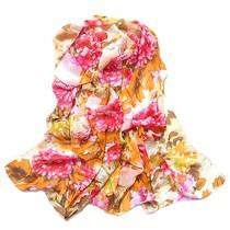 富贵牡丹 丝巾 长款 披肩 桑蚕丝 真丝 秋冬 女 雪纺印花 批发 价格:5.80