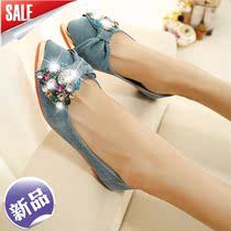 2013秋季新款水钻单鞋蝴蝶结平底鞋瓢鞋女平跟鞋尖头女士鞋子甜美 价格:125.00