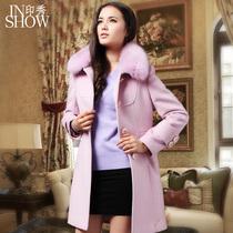 印秀2013冬季新款韩版修身羊毛呢子外套中长款狐狸毛领羊绒大衣女 价格:1099.00