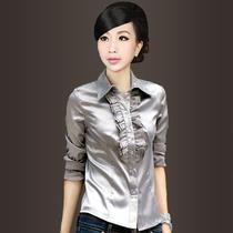 包邮040928女式V领大码女装长袖韩版修身雪纺纱仿真丝衬衫衬衣女 价格:63.20