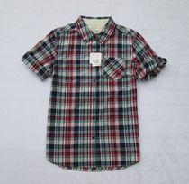 外贸原单日单女装格子中袖衬衫可挽袖五分袖格子衬衣 价格:65.00