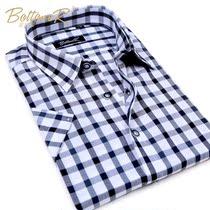 波登铌 2013夏季男士短袖衬衫男时尚韩版休闲男装格子衬衣潮薄款 价格:39.00
