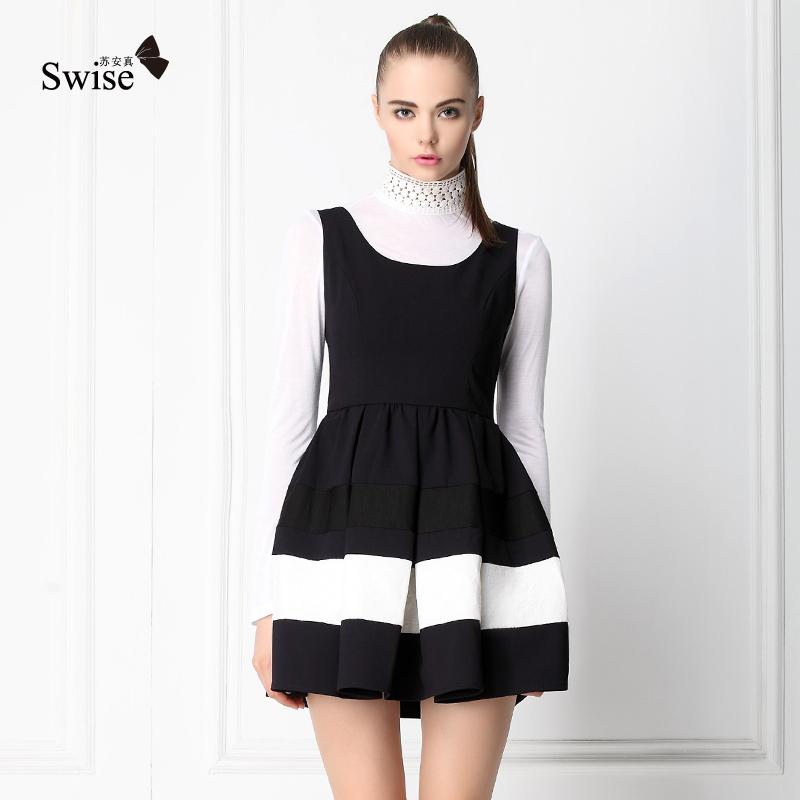 苏安真2013秋季新品新款女装 拼接蕾丝裙 黑色显瘦无袖背心连衣裙 价格:199.00