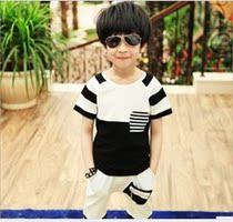 男童韩版短袖T恤中大儿童装黑白西瓜条纹王子气质套装换季成本价 价格:39.00