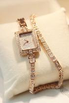 手表女韩国时尚女士高档满钻小香风水钻表双层女表手链表韩版复古 价格:53.09