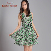 Sarah Jessica ParkerV领收腰真丝雪纺连衣裙13MP203 33153 现货 价格:368.00