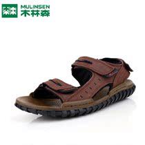 木林森2013夏季新款真皮磨砂牛皮男式沙滩鞋欧版男凉鞋子1310914 价格:298.00