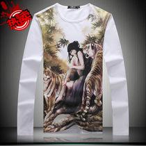 长袖男t恤 美女与野兽 山水国画泼墨印花潮牌T恤 中国风男士T恤 价格:95.00