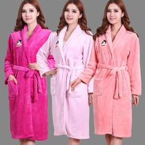 秒杀包邮女士冬季加厚法兰绒珊瑚绒睡袍浴袍纯色可爱睡衣卡通袍子 价格:78.00