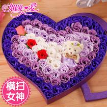 如果爱 小熊花束泰迪熊肥皂香皂花玫瑰公仔花束卡通花束生日礼物 价格:99.00