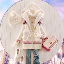 2013新款女装中长款加厚毛衣外套女开衫秋冬韩版连帽毛衣开衫女 价格:179.00